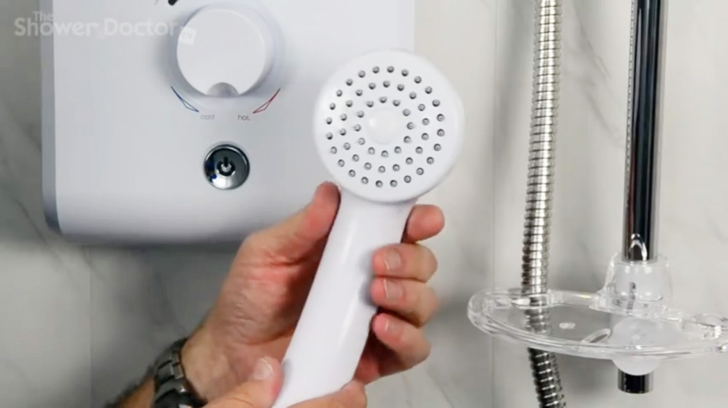 An example of a simple shower head with rub clean nozzles.